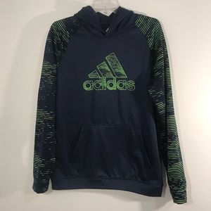 Adidas Blue And Green Boys Hoodie Size XL